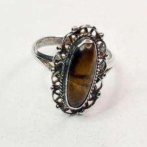 Vintage Sterling Silver Tigers Eye Ring